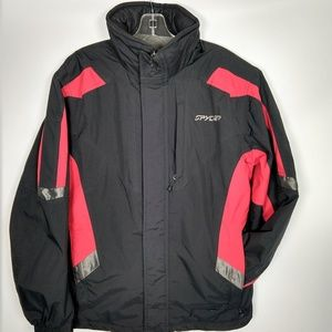 Men's Spyder black ski jacket hooded insulated M